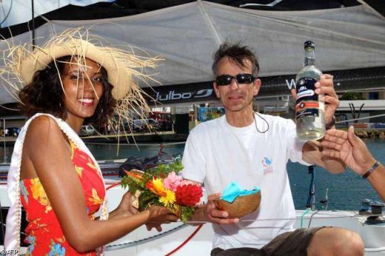 Marc, heureux, à son arrivée sur les pontons à Pointe-à-Pitre.