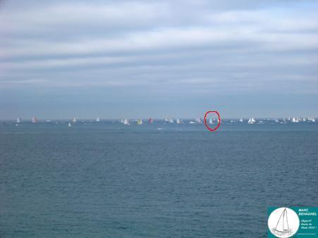 La flotte des 40 pieds avec Marc bien placé (dans le cercle rouge, normalement).