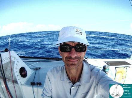 Autoportrait de Marc, le 19 Novembre 2010. Les premiers class40 sont arrivés, Marc est à 5 jours de la Guadeloupe.